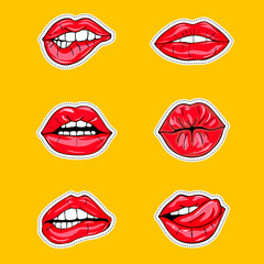Set of sexy female lips in red glossy lipstick, seductive, kissing, bitten, with tongue, lollipop, cherry, rose, candy. Glamour mouths isolated on yellow background. Pop art style female sexy mouths.