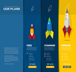 Illustration background for price comparison of services or products with illustrated rockets.