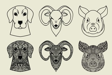 Ornamental doodle heads of animals Set. Pig, dog and goat or ram.