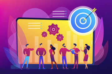 Employees get organizational goals and feedback. Performance management, management software, employee productivity and performance tracking concept. Bright vibrant violet vector isolated illustration