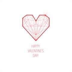 cartolina per il giorno di San Valentino rossa cuore
