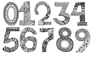 The set of hand drawn numbers for your design. Sign painting style.