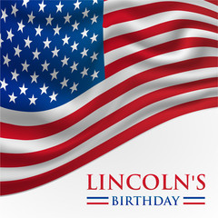 Linkoln's Birthday America or USA Flag Background Vector