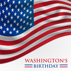 Washington's Birthday Banner Background Illustration with American Flag