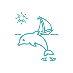Vector illustration yacht, waves, sun and dolphin. Set of vector symbols. Pleasant sea tour in sunny day. Flat design
