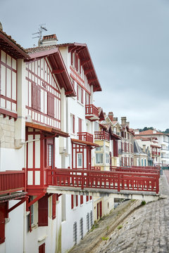 Traditional red and white half-timbered basque houses, typical architecture
