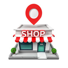 3d illustration of shop