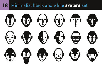 Minimalist black and white avatars set