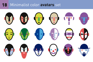 Minimalist color avatars set