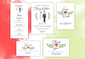 Wedding Invitation Layout Set with Couple Illustration
