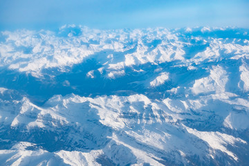 Aerial view to Alps from the plane, Austria