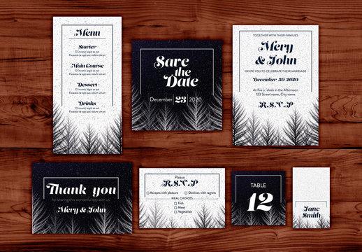 Winter Wedding Invitation Layout Set