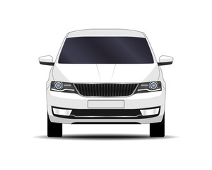 realistic car. sedan. front view.