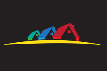 Colorful houses logo vector image