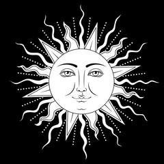 Sun with human face symbol. Vector illustration.