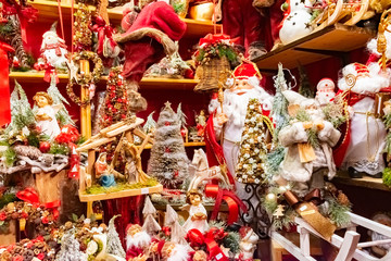 Beautiful colorful christmas decorations and balls in Wien Rathaus Market, Austria