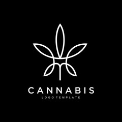 cannabis hemp marijuana leaf geometric outline line art Logo design inspiration