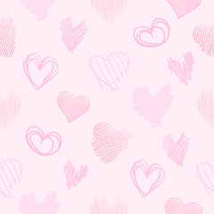 Hand drawn background with colored hearts. Seamless grungy wallpaper on surface. Chaotic texture with love signs. Lovely pattern. Line art. Print for banner, flyer or poster. Colorful illustration