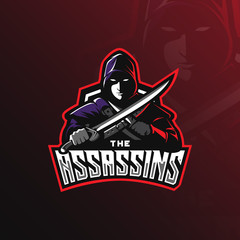 assassin vector logo design mascot with modern illustration concept style for badge, emblem and tshirt printing. assasin illustration with sword in hand.