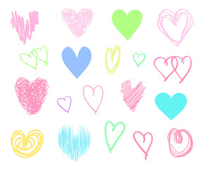 Hand drawn colorful hearts on isolated white background. Set of love signs. Unique abstract image for design. Line art creation. Multicolored illustration. Elements for poster or flyer