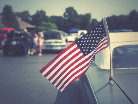 American Flag on Classic Car at Cruise In Car Show