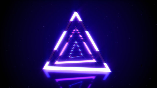 Rotations of a shining neon triangle in modern fluorescent lighting with reflections, 3D illustration