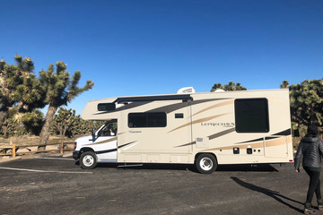 Javier Jerez backs up his RV during a visit with his family where services at the park were limited because of the federal government shutdown at Joshua Tree National Park California