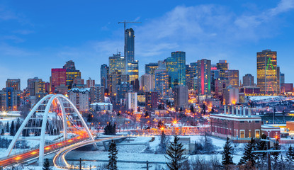 Aluminium Prints American Famous Place Edmonton Downtown Skyline Just After Sunset in the Winter