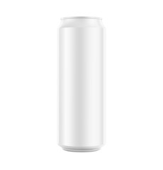Realistic aluminum can mockup. Front view. Vector illustration. Can be used for beer, water, soda, energetic. Easy to use for presentation your product, idea, design. EPS10.