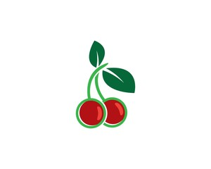 Cherry logo template vector icon illustration