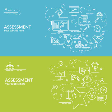 Flat colorful design concept for Assessment. Infographic idea of making creative products. Template for website banner, flyer and poster..