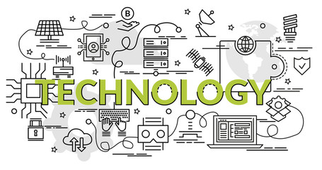 Flat colorful design concept for Technology. Infographic idea of making creative products. Template for website banner, flyer and poster..