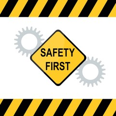 illustration of Safety First diamond shape and industrial safety sign.