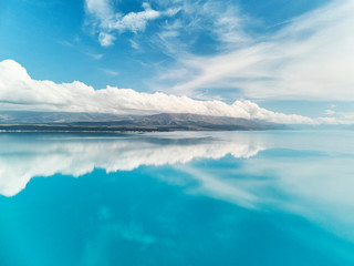 Lake Puakaki Drone Aerial and Mount Cook, New Zealand