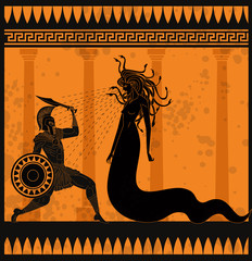 orange and black pottery painting of perseus fighting the medusa