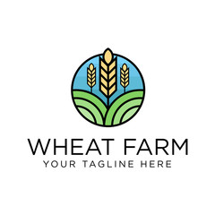 Wheat Farm Logo concept. Creative Minimal design template. Symbol for Corporate Business Identity. Creative Vector element