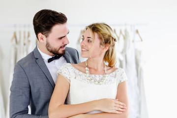 Beautiful portrait model wedding couple in studio shop