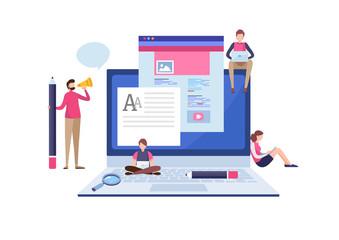 Blogging, Blogger. Freelance. Creative writing. Copy writer. Content management. Flat cartoon miniature  illustration vector graphic on white background.