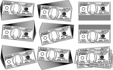 Bunch of 100 US dollar banknote outline set