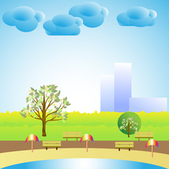 Cartoon nature landscape outside the city