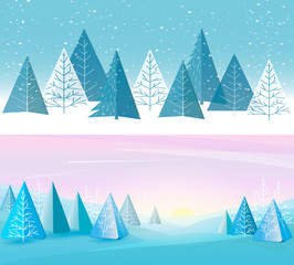 Banners set with forest flat background. Children's drawing. Simple and cute landscape for your design