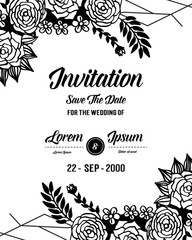 Template for invitation with flower hand draw vector art