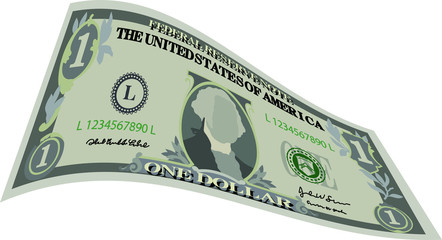 Deformed 1 US dollar banknote