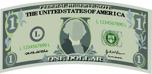 Deformed 1 US dollar banknote