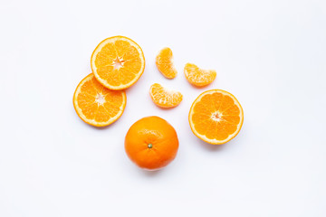 Fresh orange citrus fruits  on white.
