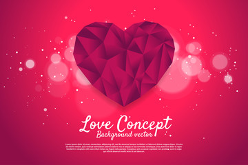 Heart shaped with polygon luxury style. valentine's day and love theme banner and poster
