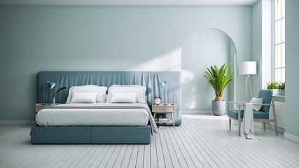 Scandinavia and vintage bedroom interior design,Green bedding with soft green blue walls on white floors ,3d rendering