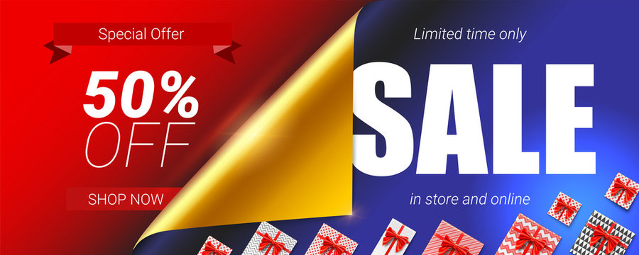 Sale in store and online, special offer. Up to 50 percent discount. Banner with design of text, curled corner with open gift wrap paper and gift boxes. Vector 3d illustration for discount actions.