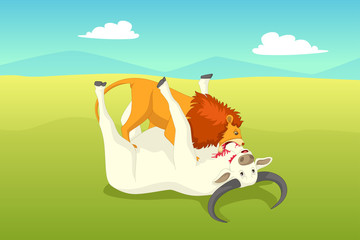 Lion Attacking a Buffalo Illustration