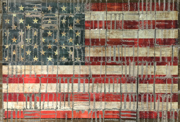 american flag on background texture of brick wall